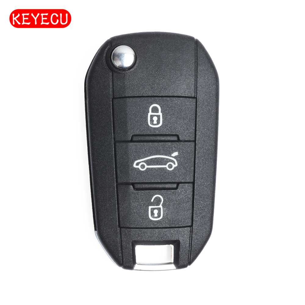 Keyecu Replacement New Flip Car Remote <font><b>Key</b></font> - 3 Buttons & 433MHz Frequency & ID46 Chip - <font><b>FOB</b></font> for <font><b>Peugeot</b></font> 208 308 508 <font><b>3008</b></font> 5008 image