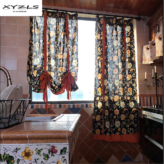XYZLS American Style Kitchen Short Curtains Floral Printed Roman Blinds Window Treatment Door Home Decor 1 Piece