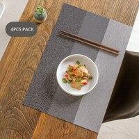 Premium Anti-skid Tischset Waschbar Esstisch Matten Wärme Beständig Dekorative Platzierungen Woven Vinyl Ort Matten Pack von 4PCS