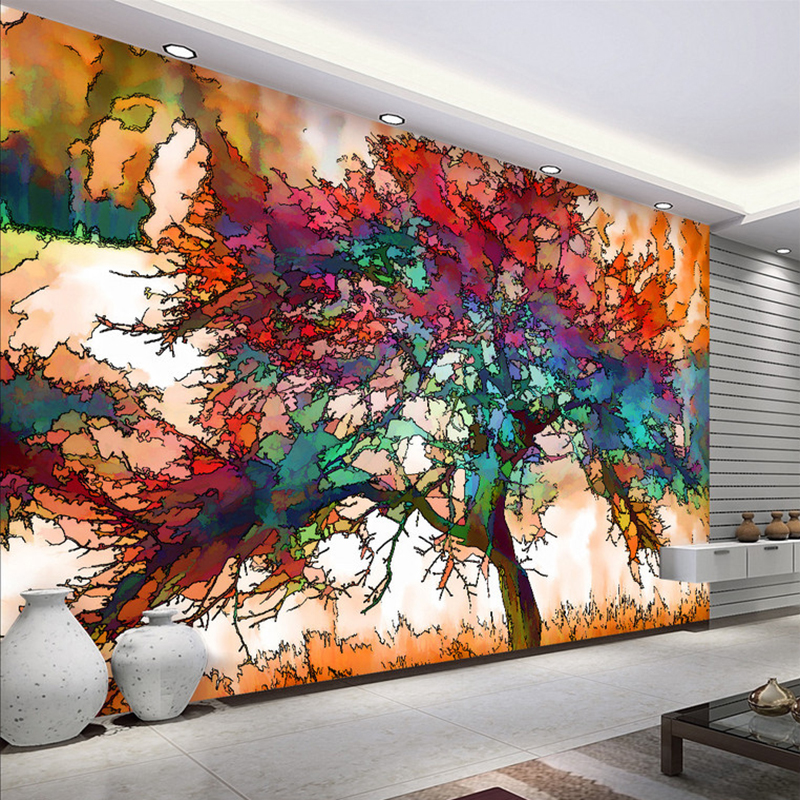 25 Wall Mural Designs: 3D Wallpaper Modern Abstract Art Colorful Tree Photo Wall