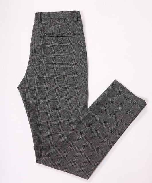 1b39cd5b364c2 € 45.33 |Rustique mariage laine Tweed gris Plaid hommes SuitsSlim Fit  pantalon personnalisé garçons d'honneur marié Tuxedso pantalon hommes ...