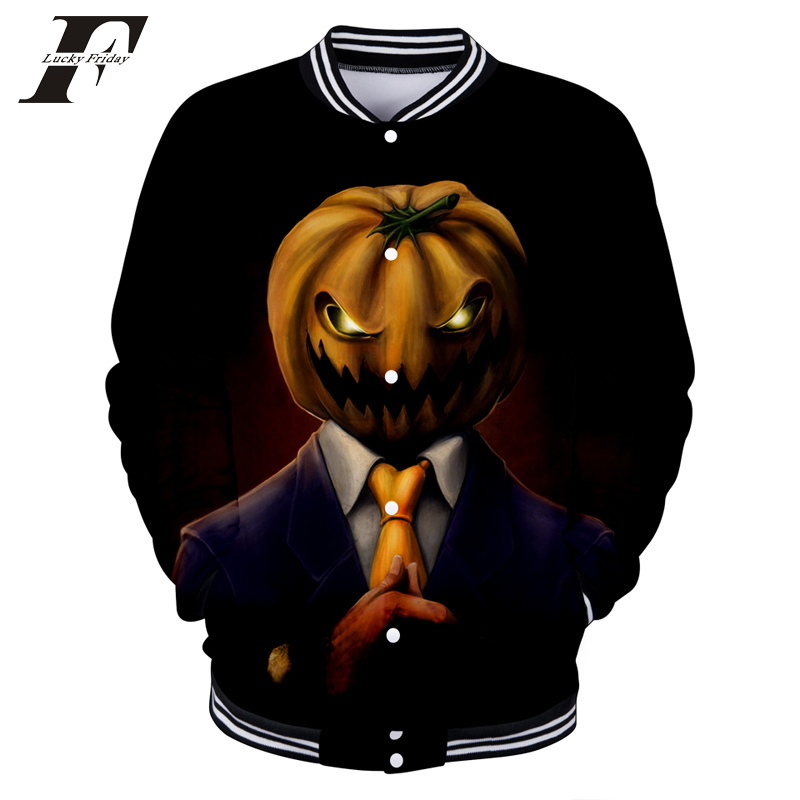 100% Quality Luckyfridayf 2018 Halloween 3d Baseball Jacket Autumn/spring Women/men Fashion Pumpkin Face Coats Casual Jacket Halloween