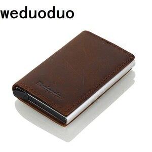 Image 1 - Weduoduo erkekler hakiki deri kartlık RFID Metal kredi kartı tutucu Anti theft erkekler cüzdan otomatik Pop Up kart kılıfı