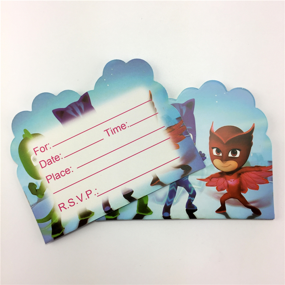 20 Pcs PJmasks Cartoon Theme Happy Birthday Party Decoration Invitation Card for Kids Boys Favors 11*14cm