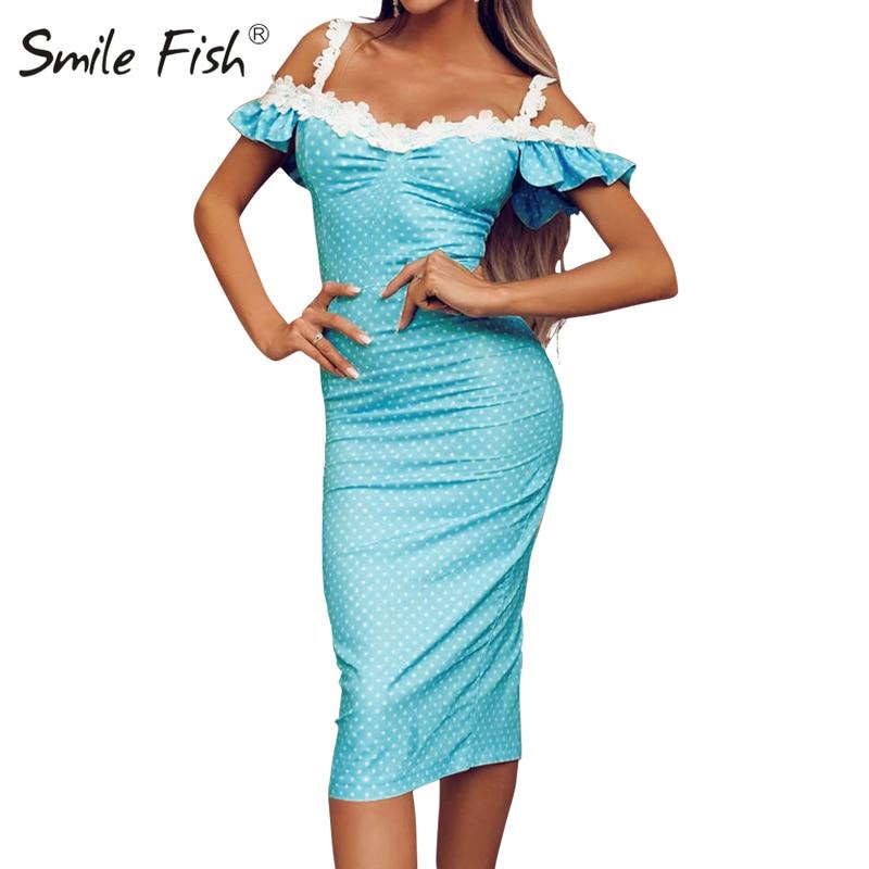 Holiday Off Shoulder Crochet Patchwork Sundress Butterfly Sleeve Polka Dot Elegant Women Midi Dress Femme Sexy Sheath Robe GV299