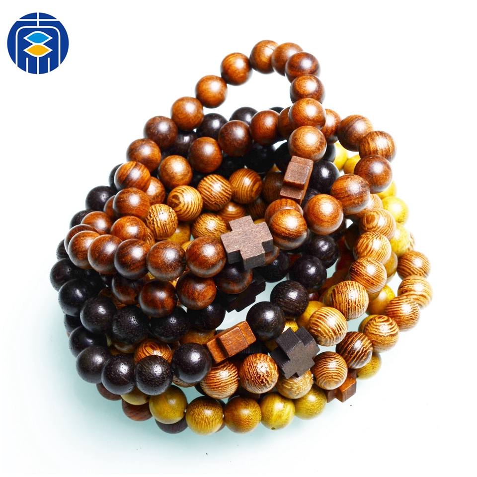 Natural Wood Beads Cross Bracelets