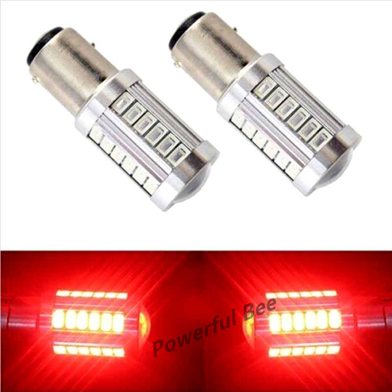 2 x BAY15D/1157 33SMD 15W white red led DC12V car reverse brake stop tail lights bulb, free shipping