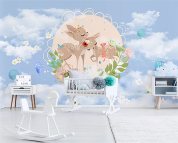 beibehang papel de parede Custom Nordic Modern Simple Cute Animal Children's Room Background 3d Wallpaper wall papers home decor