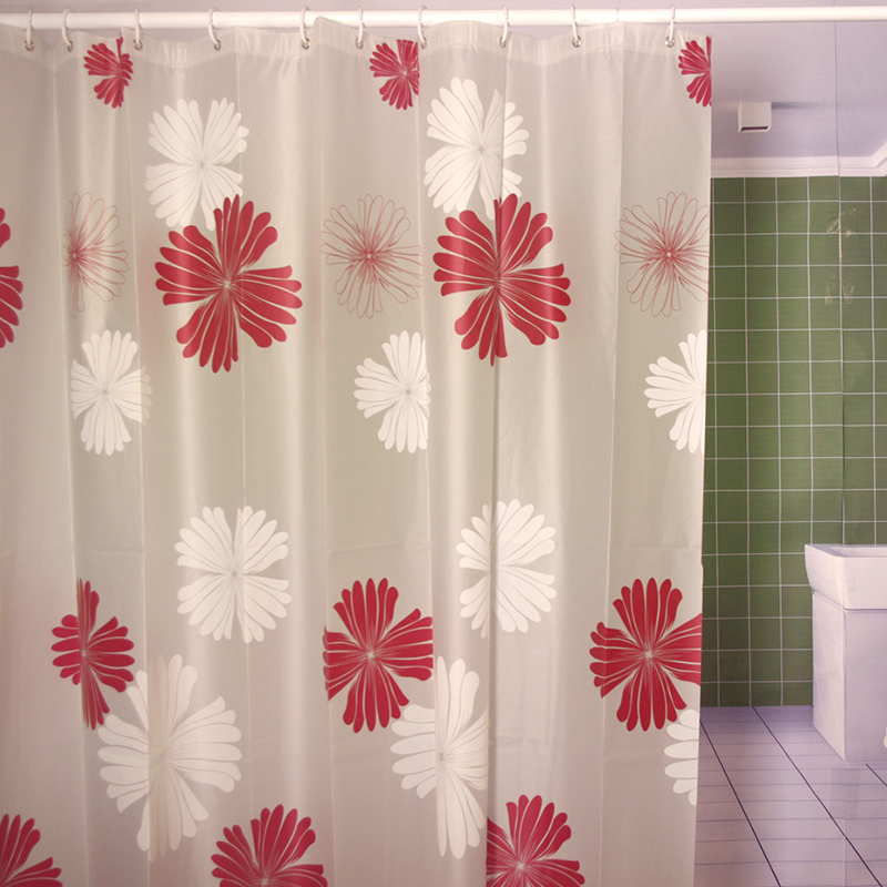 Modern Eco Friendly PEVA Shower Curtain Red Flower Printed Matte Waterproof Moldproof Curtains Bathroom Products Cortina Ducha In From Home
