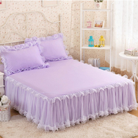 1 Piece Luxury Rufflled Bedspread Romantic Lace Bed Skirt Bed Sheet Handmade Bedspreads Twin Bed Skirts Queen Size