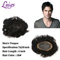 Lwigs men's wig short natural hair thin skin toupee 7 x 10 inch lace hair replacement for men remy human black hair mens toupee
