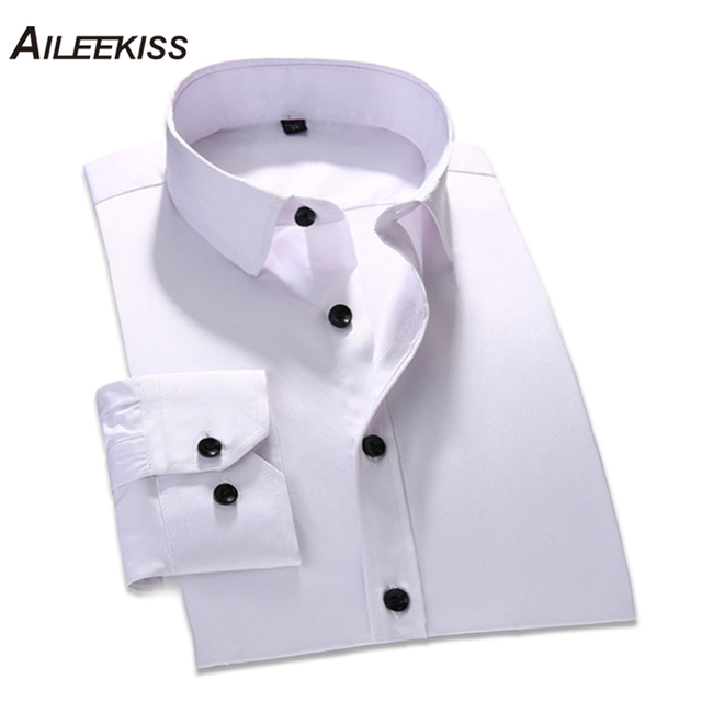 2018 Large Size Mens Business Shirts Man Casual Long Sleeve Shirt White Solid Male Social Dress