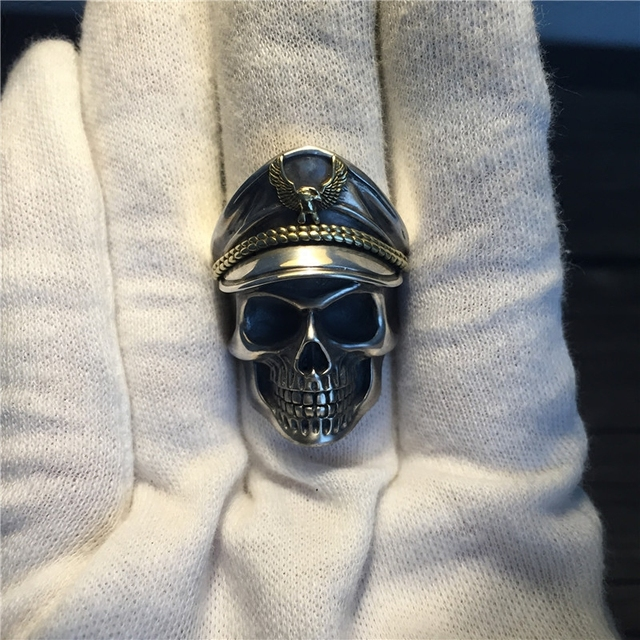 Solid Silver 925 Skull Soldier Rings Men Wide Band 17.8g Real 925 Sterling Silver Jewelry Men Top Fashion Gothic Punk Style Gift