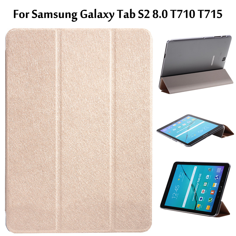 For Samsung Galaxy Tab S2 8.0 T710 T715 Ultra Slim 3-Fold Transparent Clear Cover PU Leather Protective Case +Film protective clear screen protector film guard for samsung t3100 t3110 galaxy tab 3 transparent