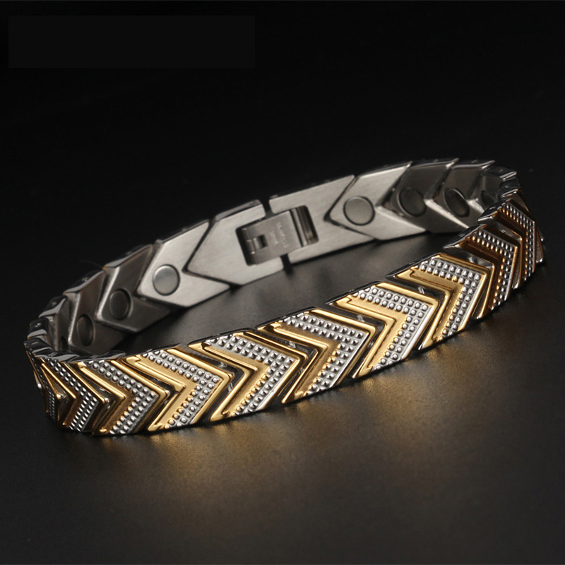 Korean fashion magnet health care men and women titanium steel bracelet stainless headgear