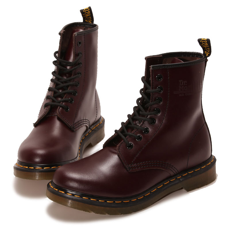 ФОТО 2016 New England Style Leather Martin Boots Unisex head layer cowhide wine red short boots Ankle Boots tide