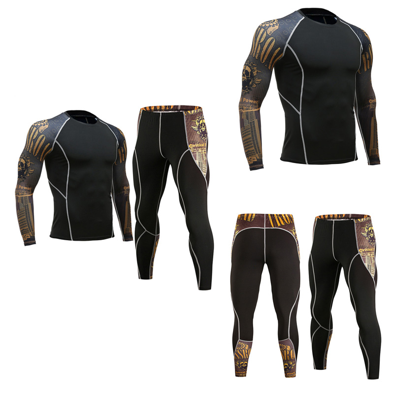 Youth Fitness Clothing Brand Men Base Layer Thermal Underwear 2 Piece Tracksuit Men MMA Compression Crossfit Shirts Rashgard Kit