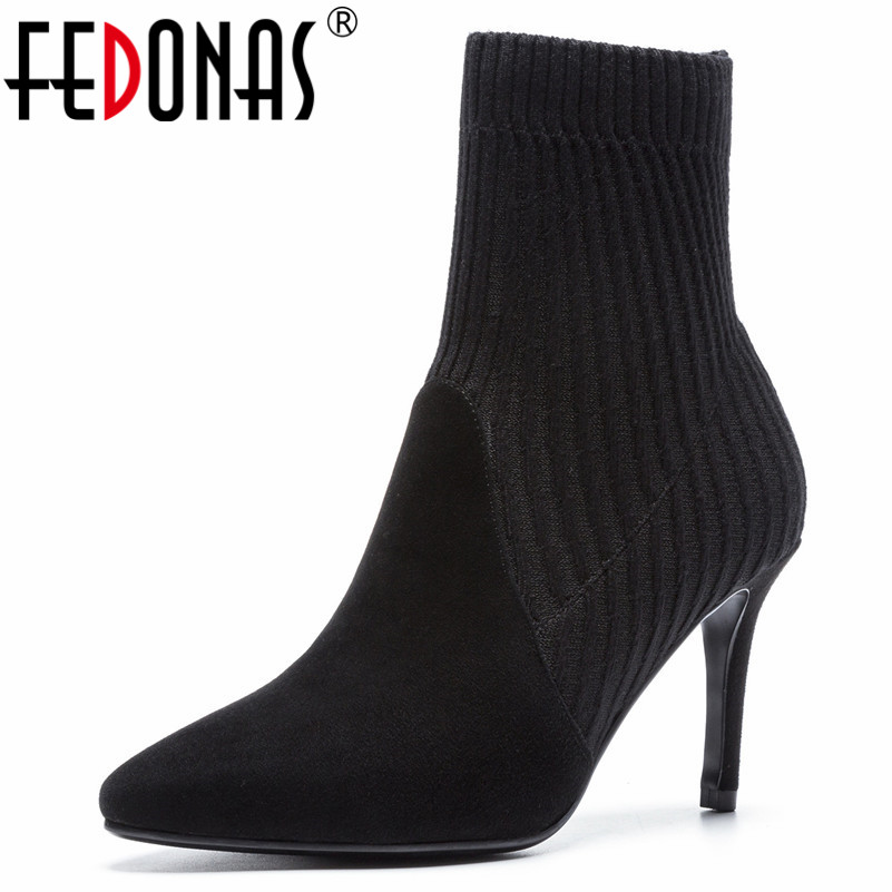 FEDONAS New Socks Boots Sexy Pointed Toe High Heels Ankle Boots For Women Autumn Winter Shoes Woman Party Wedding Pumps new women pumps transparent wedges high heels ankle pointed toe high heels pring autumn sexy shoes woman platform pumps
