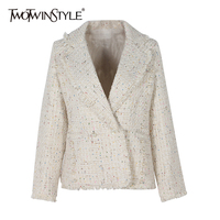 TWOTWINSTYLE Female Jacket Pearl Women S Coat Frayed Edge Cropped Tweed Tassel Tops Long Sleeve Clothes