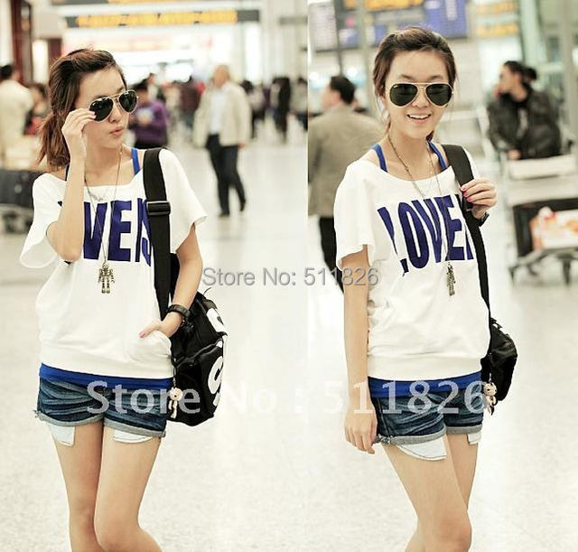 Korea 2 PCS Off Shoulder Women's Top T-shirt+Vest Short Free shipping 5126