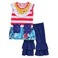 Conjuntos de Roupas Meninas do bebê Verão Estilo Encantador Coleção T-shirt Sem Mangas Plissado Calças Roupa Das Crianças Roupas Casuais S042