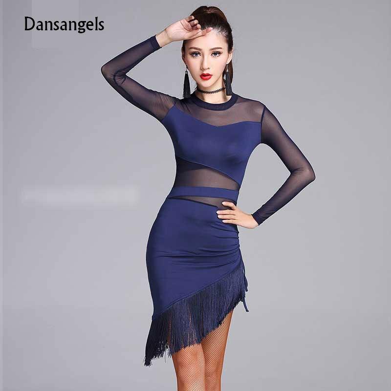 735e1b2b0 Cheapest Dansangels Fashion Sexy Gauze Long-sleeve Latin Dance Tassel  one-piece dress for women/female, Ballroom tango Costumes MD7102