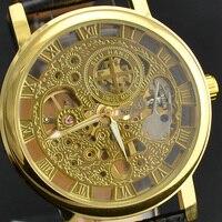 Giá bán buôn chất lượng tốt bạc vàng bạc sang trọng skeleton da cơ man mens đồng hồ đeo tay xem gi