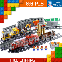 898pcs City Trains Motorized Remote Control Red Cargo Train 02039 Figure Building Blocks Children Toys Compatible With LegoING