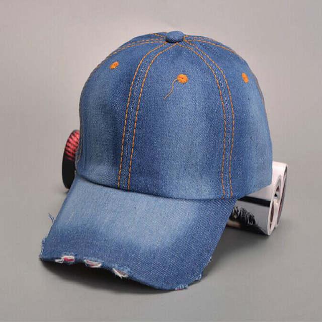placeholder Que no chuveiro Curvo Brim liso chapéu denim unisex branco jean  boné de beisebol para mulheres 5f27b55c998