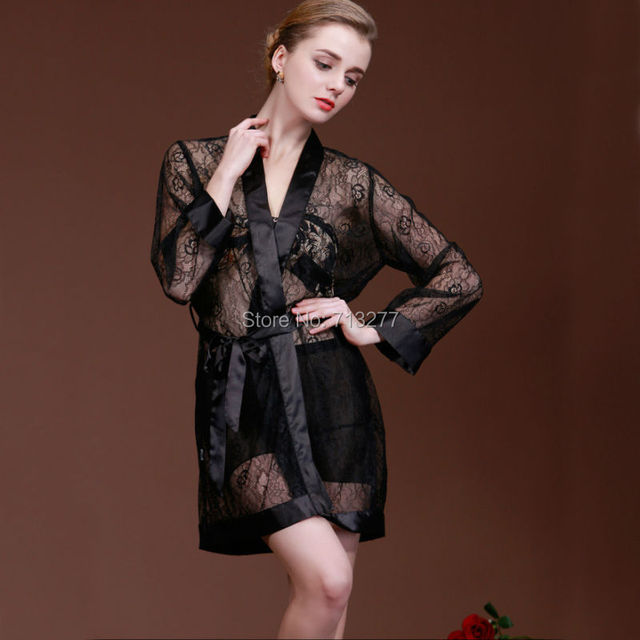 Новый Лето Осень Полный Рукава sexy кружева женщины Черное одеяние кружева шифон пижамы принцесса ночная рубашка pijama Сексуальные Женщины Халат