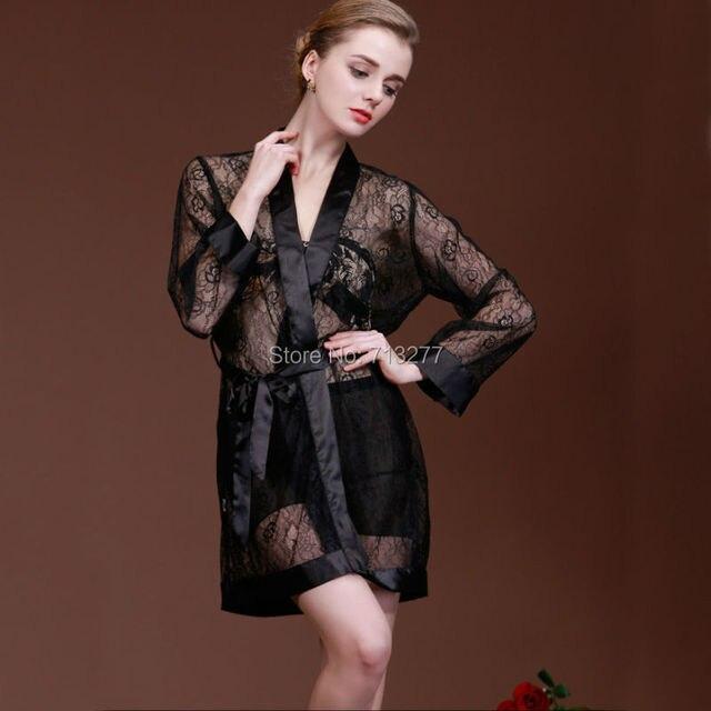 New Summer Autumn Full Sleeves sexy lace women robe Black lace chiffon sleepwear princess nightgown pijama Sexy Women Robe