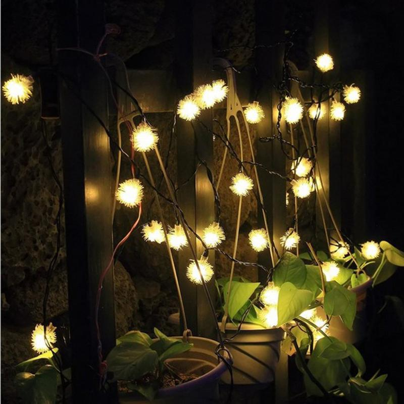 Daisy Solar String Lights: 20 LEDs Solar Power Fairy String Lights Hair Ball