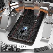 Hakiki deri lüks kılıf için Huawei Mate 20 Pro Mate 20 X 20X inek derisi tam koruyucu kapak desteği adsorpsiyon mıknatıs