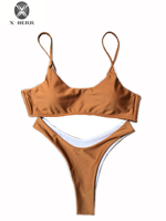 X HERR New Arrival White Bridesmaid Beach Wear Push Up Wire Free Women Swimming Suit Basic