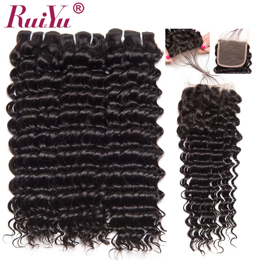 RUIYU Deep Wave Bundles With Closure Brazilian Hair Weave 3 Bundles With Closure 100% Human Hair Weaving remy hair extensions