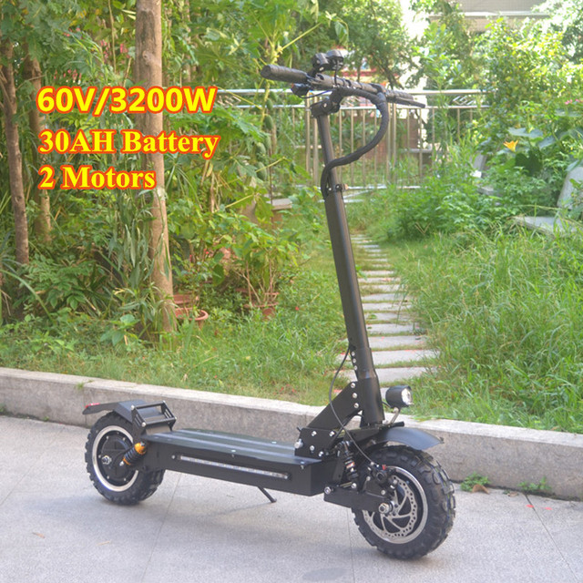 FLJ 2018 Newest Electric Scooter 60V/3200W Electric Kick Scooter with 11inch on road / off road big fat wheel kick bike