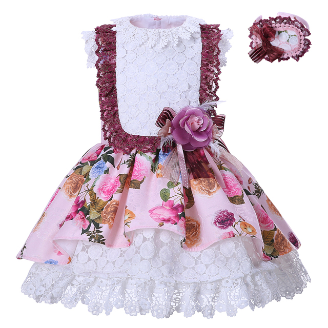 10a403989 Cutestyles Summer Pink Lace Flower Girl Dresses Summer Kids Clothes Rose  Printed Lace Layer Girls Dress G-DMGD001-1324