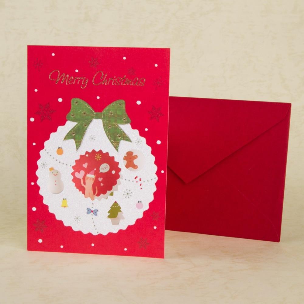 Merry Christmas Card Paper Handmade Christmas Tree Decorating Gift ...