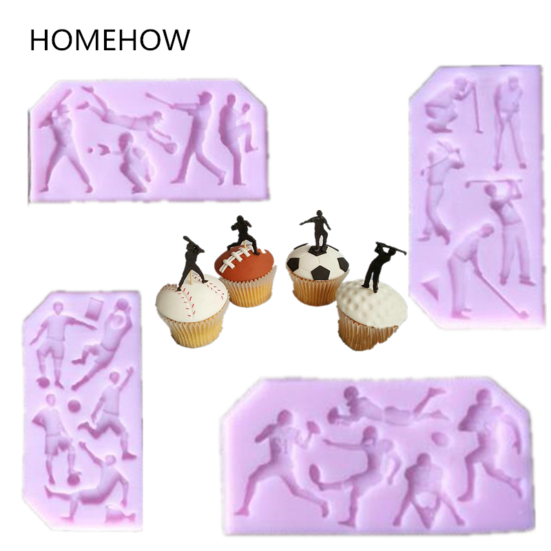 Hot 1PC/Lot 5 Lattice Sport Skill Aciton Football Soccer Rugby Golf Baseball Silicone Cake Mold Kids Favorite Sports Cake Mold