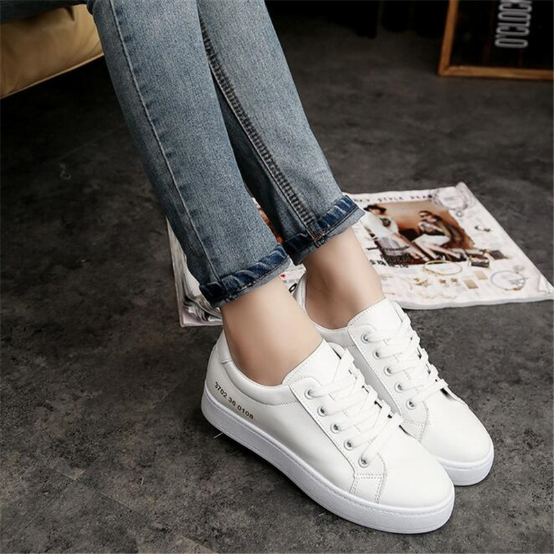 Fashion White Women Sneakers Platform Causal Shoes Lace Up Canvas Shoes Trainers Basket Femme Black Sapato Feminino
