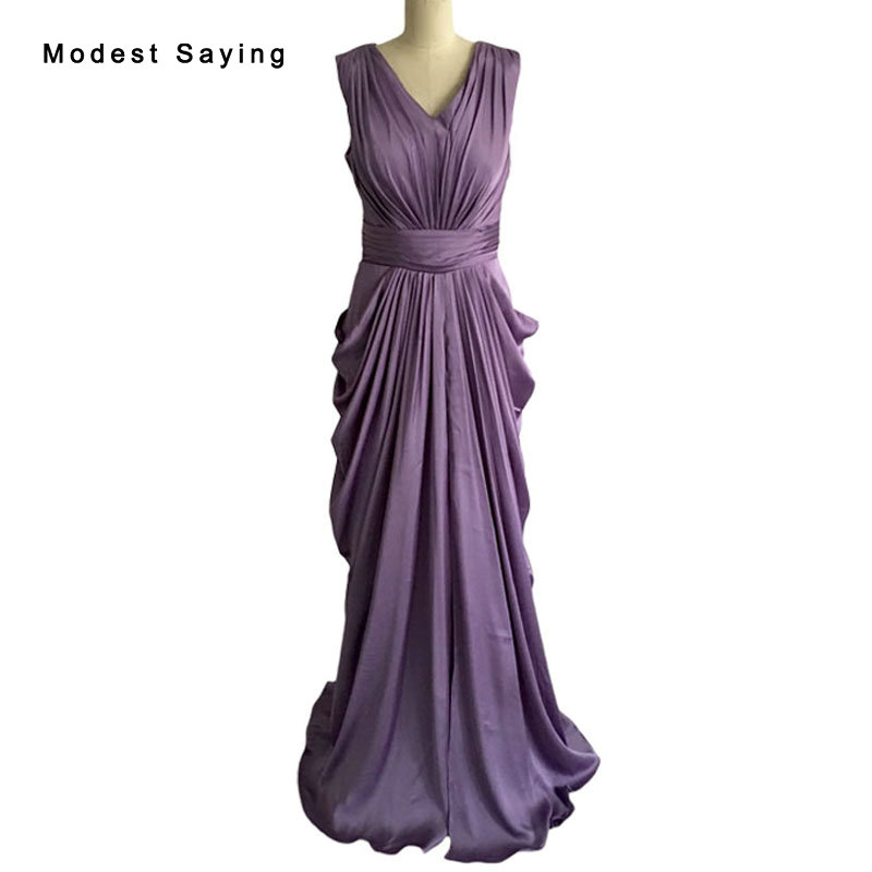 Real Elegant Purple Sheath V Neck Ruffled Bridesmaid Dresses 2017 Formal Women Long Pleated Party Prom Maid of Honor Gowns BB70