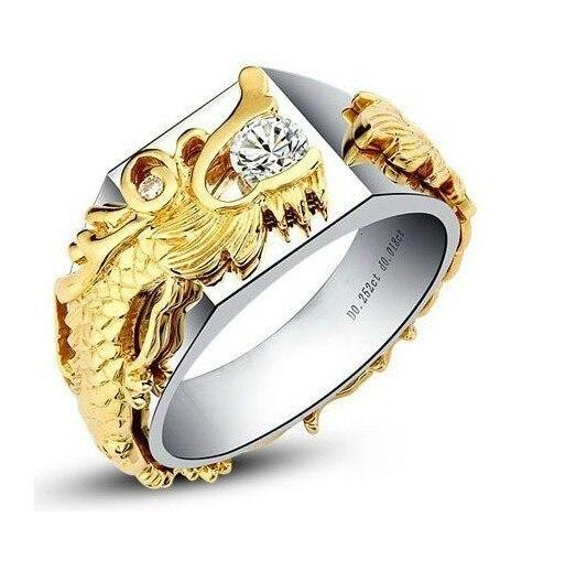 سوبر الفاخرة الصين التنين الرجال حلقة 0.33Ct خاتم الماس الصلبة 925 فضة مغطاة الأصفر و الأبيض الذهب رجل حلقة-في خواتم من الإكسسوارات والجواهر على  مجموعة 1