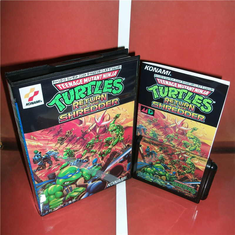 Turtles return of the Shredder Japan Cover with box and manual For Sega Megadrive Genesis Video Game Console 16 bit MD card