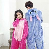 Wholesale Lovers Flannel Fleece Hoodie Costume Pajamas Cosplay Blue Pink Stitch Cartoon Animal Onesies Sleepwear