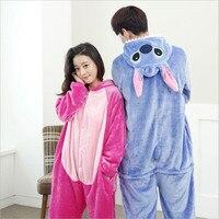 Wholesale Lovers Flannel Fleece Hoodie Costume Pajamas Cosplay Blue Pink Stitch Cartoon Animal Onesies Sleepwear