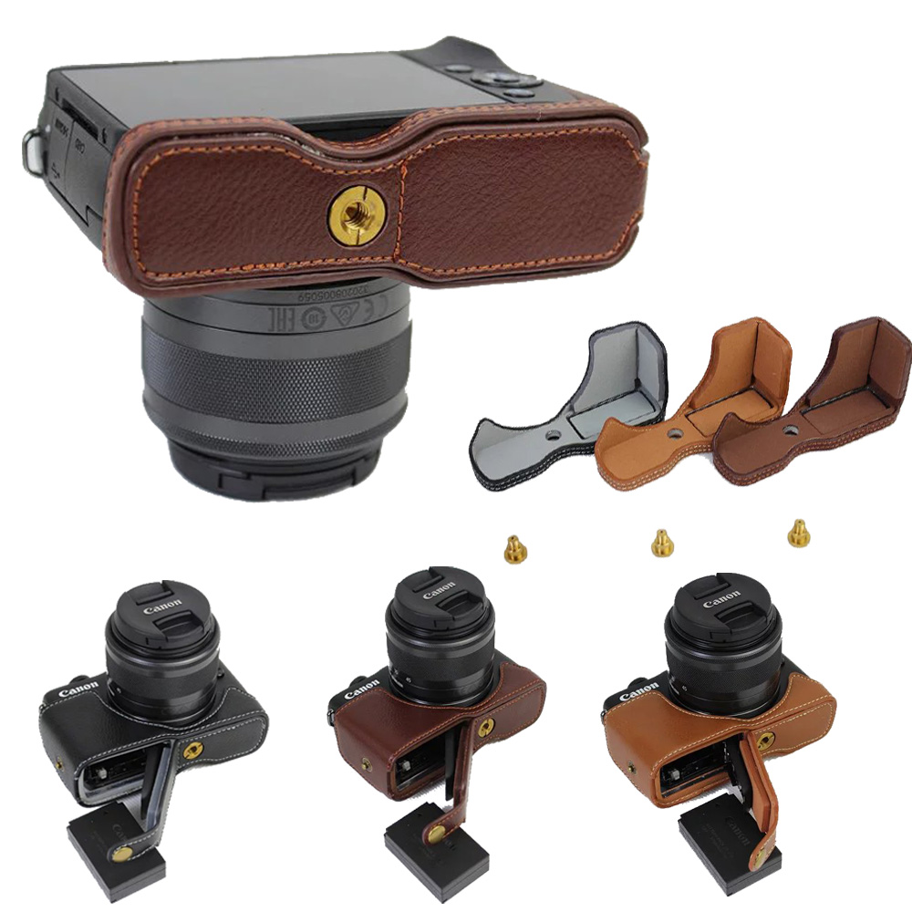 New Genuine Leather Camera Case For Canon EOS M100 EOS M10 Bottom Camera Cover Half Bag Black Brown Coffee цена и фото