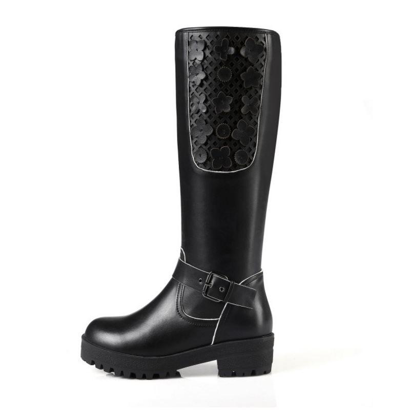 Chaussures Taille Genou Véritable Réel N00068 Rond Cuir Bottes Talons 34 42 Femme Dame Kaizikarzi Fleur D'équitation Carré Noir En Talon Bout gwZFqWx