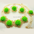 Gold Plated Pretty Green Rose Flower Jewelry Sets Elegant Women Gold Jewelry Set