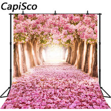 Capisco Floral Tree For Wedding Photography Background Vinyl Backdrops Pink Flower Backgrounds For Photo Studio(China)