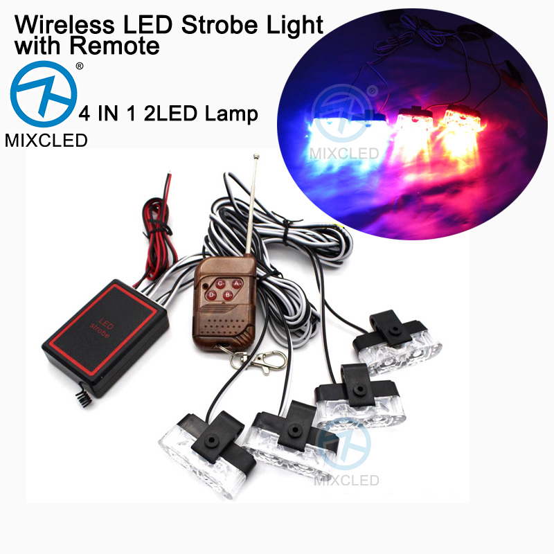 1Set 4 IN 1 2LED Wireless Remote DC 12V led Warning light Car Truck Flashing Firemen Strobe Lights LED Ambulance Police light цена и фото